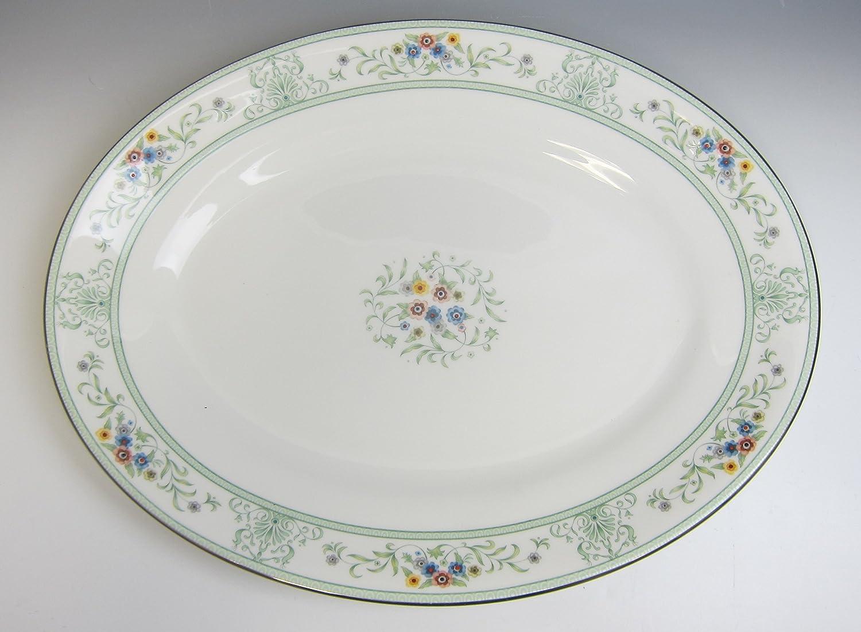 Amazoncom Wedgwood China Agincourt Green Oval Serving Platter 14