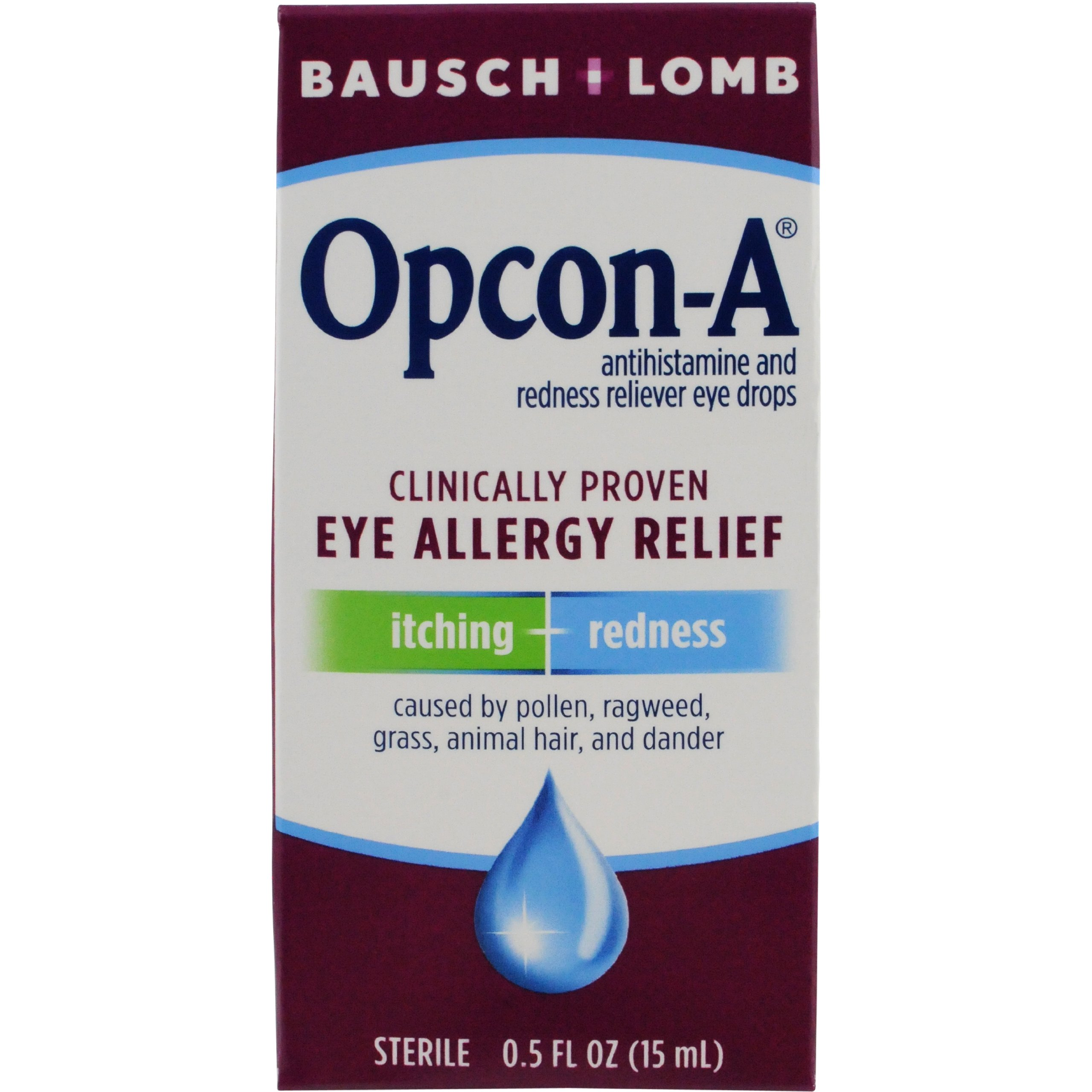Allergy Eye Drops by Bausch & Lomb, for Itch & Redness Relief, 15 mL (Pack of 3)