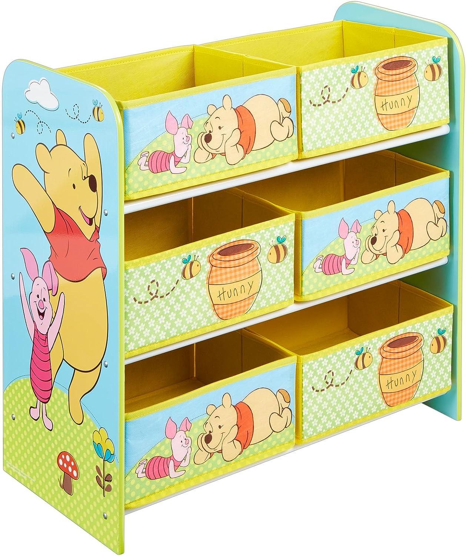 60.00x63.50x30.00 cm Winnie the Pooh M/ódulo de Almacenamiento para ni/ños Amarillo Tela