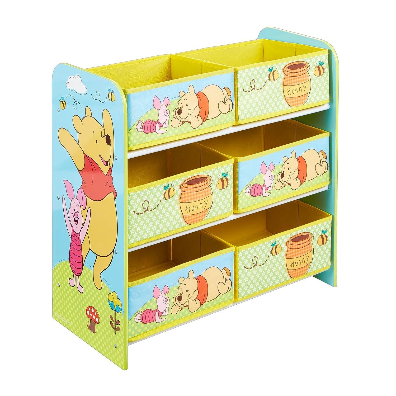 Worlds Apart Winnie The Pooh: Contenitore Multifunzione a 6 Cesti, MDF/Tessuto,, 60 x 63.5 x 30 cm 471WIE