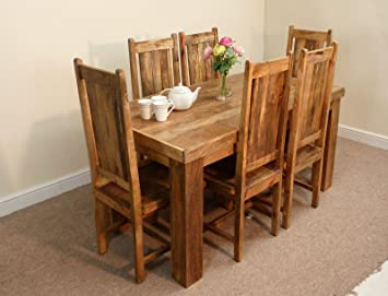 Mercers Furniture Mantis Solid Mango 152cm Dining Table 6 Chairs