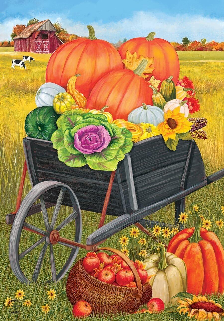 """Farm Fresh Autumn Garden Flag Fall Pumpkins 12.5/"""" x 18/"""" Briarwood Lane"""