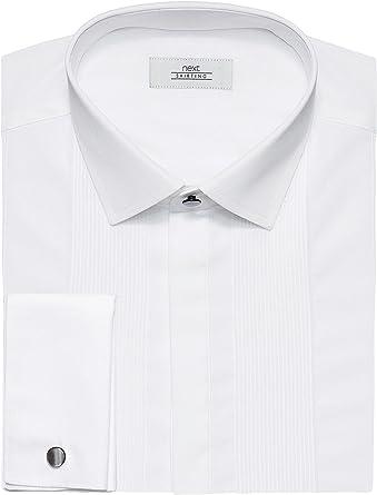 next Hombre Camisa Pechera Plisada Lisa Corte estándar puño Doble 19L: Amazon.es: Ropa y accesorios