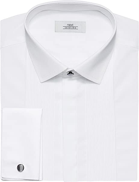 next Hombre Camisa Pechera Plisada Lisa Corte estándar puño ...