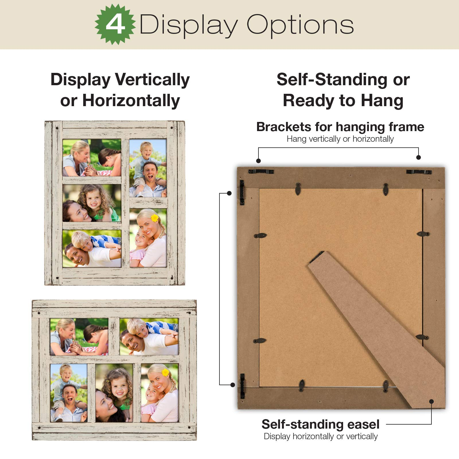 Collage Picture Frames from Rustic Distressed Wood: Holds Five 4x6 Photos: Ready to Hang or use Tabletop. Shabby Chic, Driftwood, Barnwood, Farmhouse, Reclaimed Wood Picture Frame Collage (White) by Excello Global Products (Image #4)