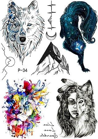Tatuaje temporal de lobo y montaña, P34: Amazon.es: Belleza