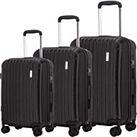 Eric Yian 3-Piece Hardshell Spinner Hardshell Lightweight Suitcases TSA Luggage Set (black)