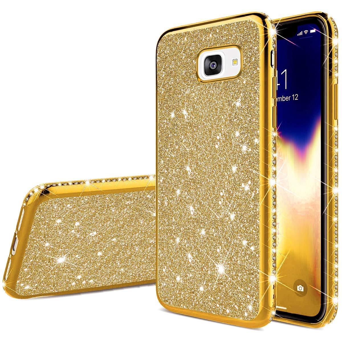Herbests Kompatibel mit Samsung Galaxy A5 2017 H/ülle Glitzer M/ädchen Schuzh/ülle Kristall Bling Glitzer Strass Diamant /Überzug Ultra D/ünn Durchsichtige Transparent Silikon Handyh/ülle Tasche,Gold