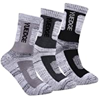 YUEDGE Men's 3 Pairs Wicking Breathable Cushion Anti Blister Casual Crew Socks Outdoor Multi Performance Hiking Trekking Walking Athletic Socks