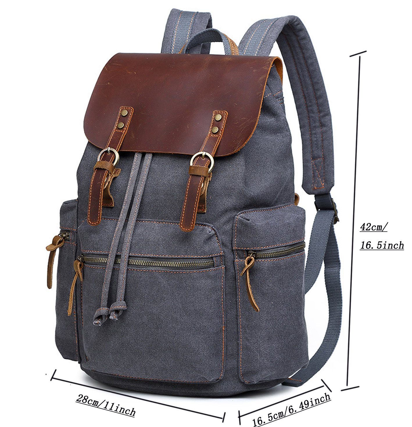 cd6900242f9a Berchirly Vintage Men Casual Canvas Leather Backpack Rucksack Travel  Bookbag Satchel for School Outdoor Hiking/Climbing Backpack for Men Women