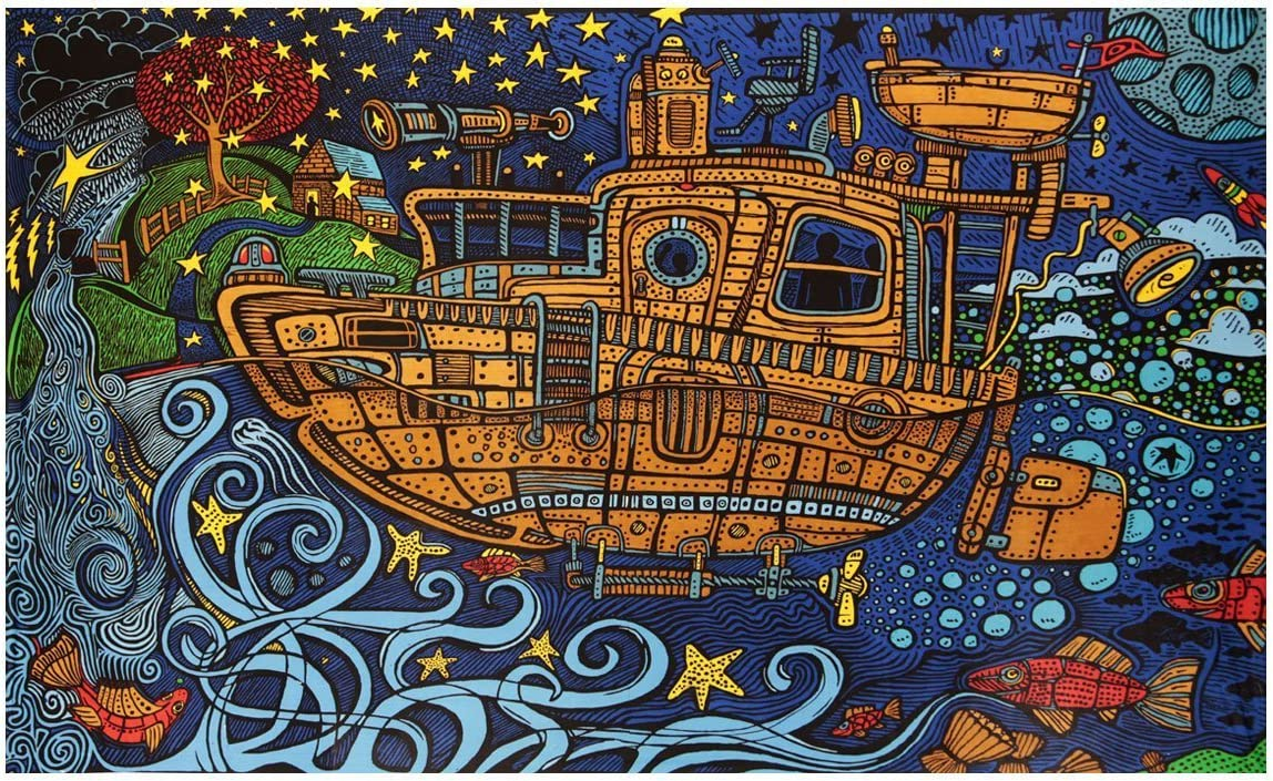 Sunshine Joy 3D Steampunk Tugboat Tapestry Wall Hanging Trippy Table Cloth Magical Dorm Decor - Huge 60x90 Inches