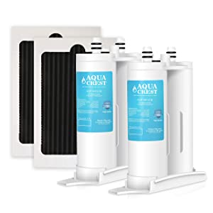 AQUACREST Replacement Refrigerator Water Filter and PAULTRA Air Filter, Compatible with WF2CB, NGFC2000, FC100, 9916, 469916 (Pack of 2)