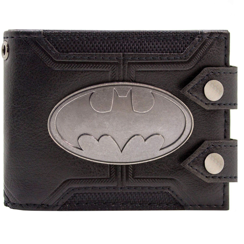 DC Batman Badge Double boutonn/é Noir Portefeuille