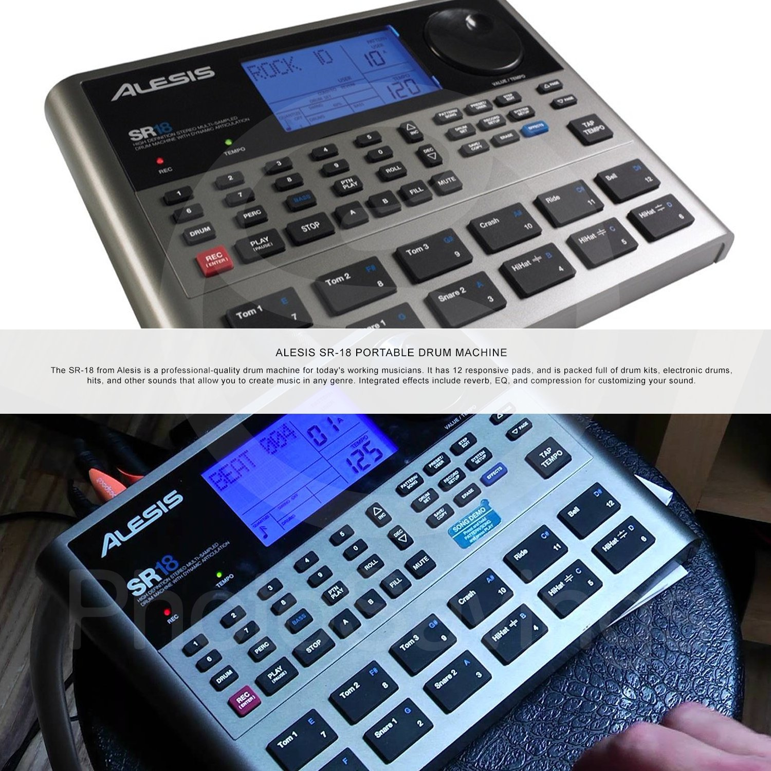 Alesis SR18 18 Bit Portable Drum Machine with Effects and Accessory Bundle w/Cables + Fibertique Cloth + Mic Windscreen  by Photo Savings (Image #2)