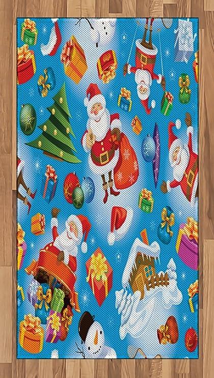 Amazon Com Christmas Area Rug By Lunarable Santa Claus Themed
