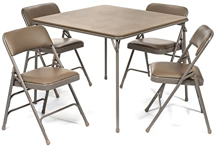 XL Series Vinyl Folding Card Table And Chair Set (5pc)   Comfortable Padded  Upholstery