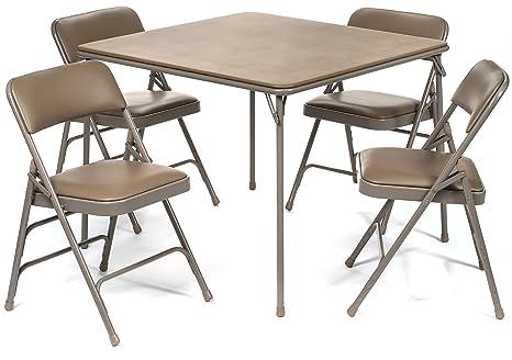 Amazon.com: Juego de 5 sillas de mesa plegables de vinilo de ...
