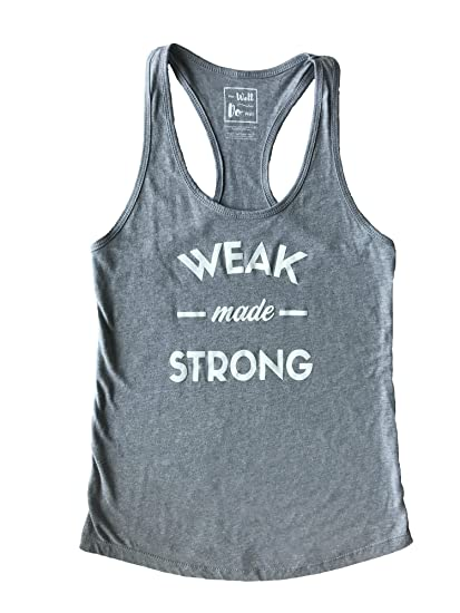 "Wear Well Do Well Women s Fitness ""Weak Made Strong"" Loose Fit Racerback  Workout Tank Top c55deda1c"