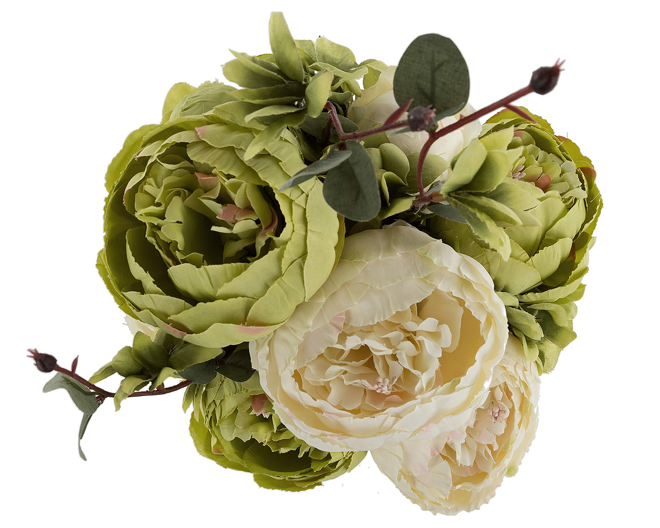 silk flower arrangements ezflowery 1 pack artificial peony silk flowers arrangement bouquet for wedding centerpiece room party home decoration, elegant vintage, perfect for spring, summer and occasions (1, green)