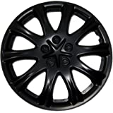 TuningPros WSC-503B15 Hubcaps Wheel Skin Cover 15-Inches Matte Black Set of 4