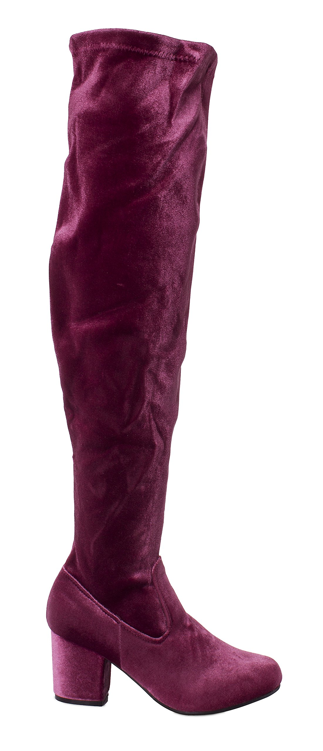 Charles Albert Women's Thigh High Over-The-Knee Chunky Heel Velvet Boots in Mauve Size: 8