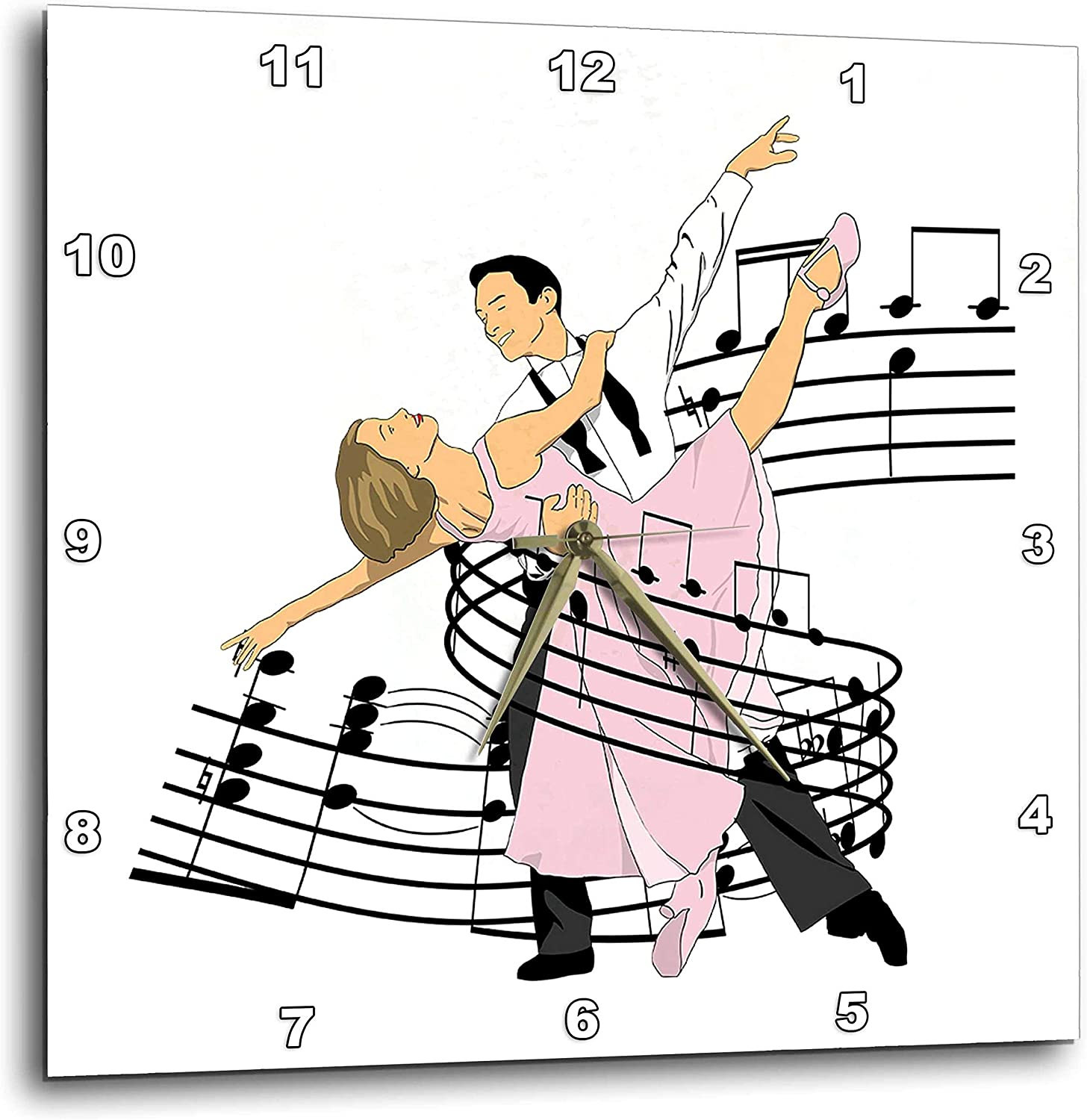 3dRose Macdonald Creative Studios – Dance - Ballroom Dance Partners who Love to Dance, Wrapped in Music. - 13x13 Wall Clock (DPP_323213_2)