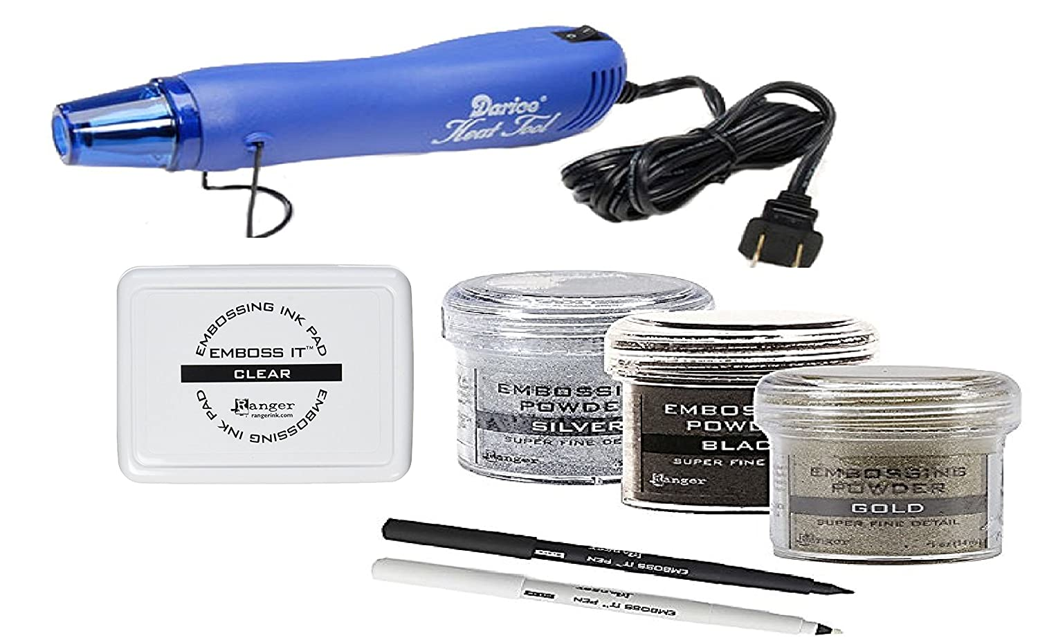 Embossing Kit - 3 Ranger Super Fine Embossing Powder with Two Inkssentials stays on ink Embossing Pen Black And Clear, Darice Embossing Heat Gun and Ranger Embossing Pad Ranger and Darice