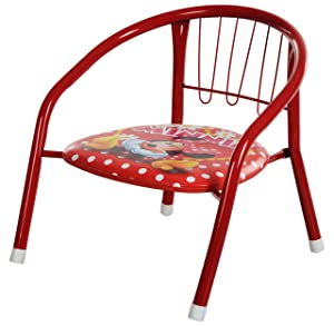 "IRIS Stacking Chair with Powder-Coated Legs, 14"" Height, Red"