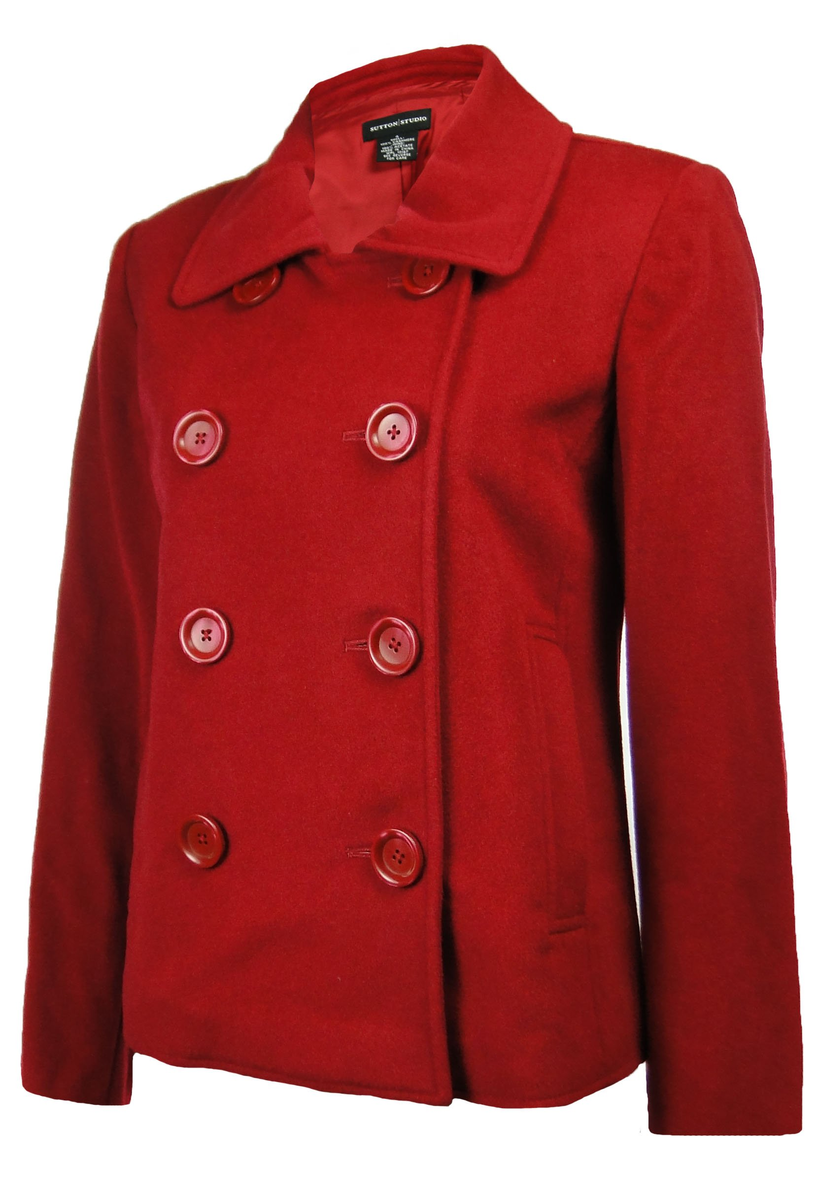 Sutton Studio Womens Cashmere Peacoat Jacket Petite (14 Petite, Claret)