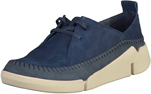 Clarks Tri Angel 26127111 Womens Navy Leather Lace Ups, 3.5 UK