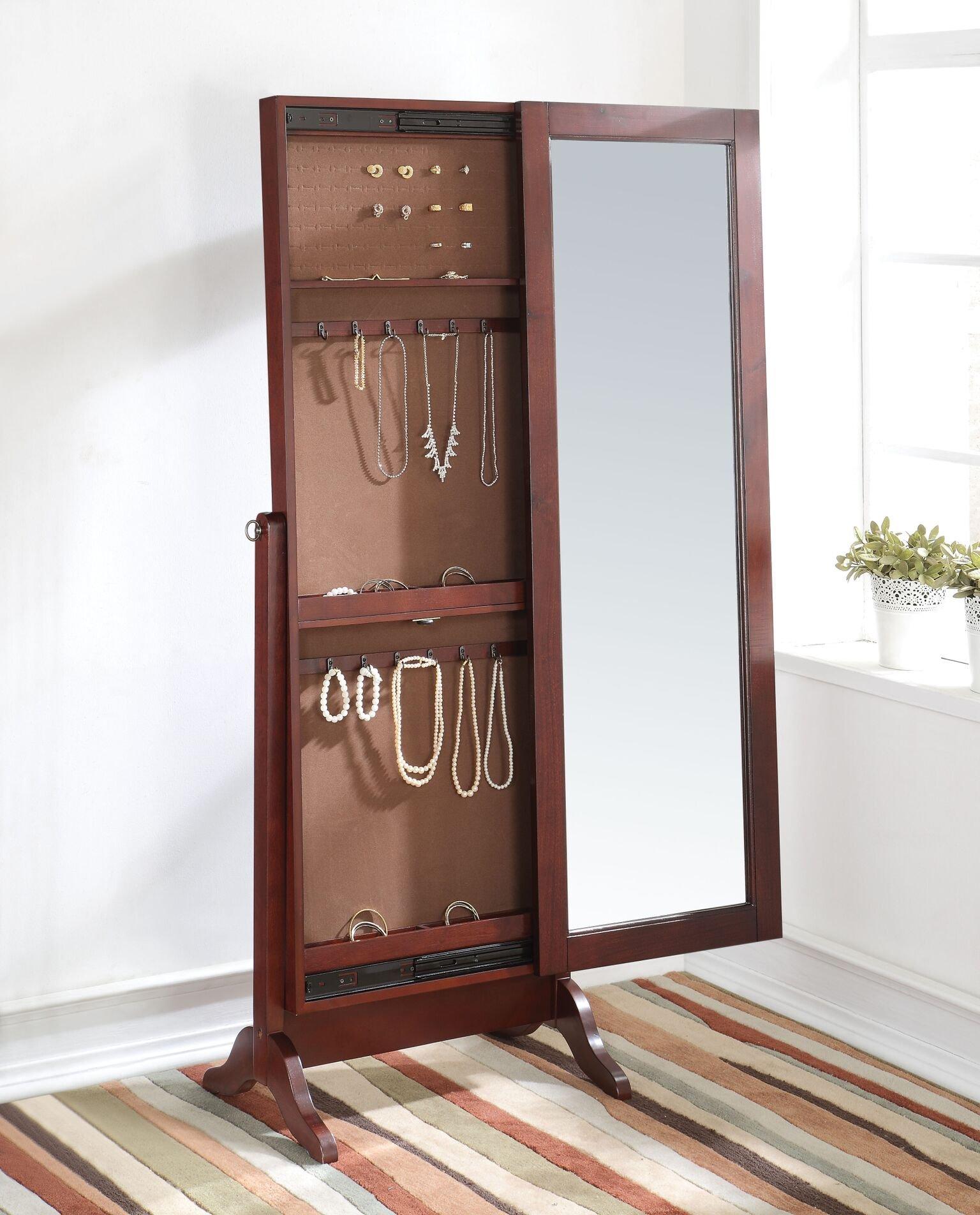 Major-Q 9097119 60'' H Cherry Finish Jewelry Cabinet Storage Armoire Lockable Standing Cheval Floor Mirror