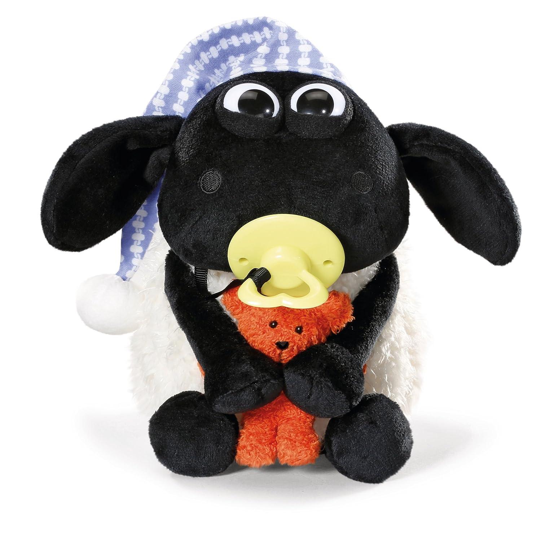 Nici 41470 Shaun Das Schaf Kuscheltier Timmy mit kleinem Bär, Schnuller und Schlafmütze, 25 cm, Farbe: Weiß/Schwarz Farbe: Weiß/Schwarz