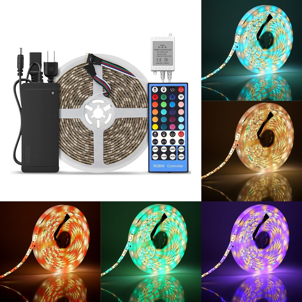 BZONE 5m SMD5050 Multicolor Waterproof LED Strip Lights Flexible LED Lighting Strip Kit 16.4ft RGBWW + 12V 6A 40 Keys Mini Wireless Music IR Remote Controller + Power Supply
