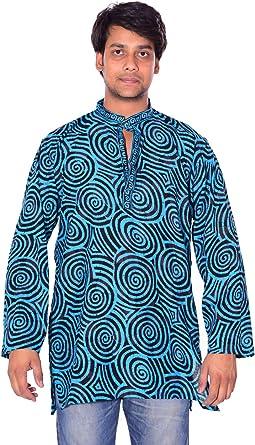 Lakkar Haveli Mens Indian Tunic Button Down Shirts Shirt Kurta Solid Blue Color 100/% Cotton Short Sleeve Big Tall
