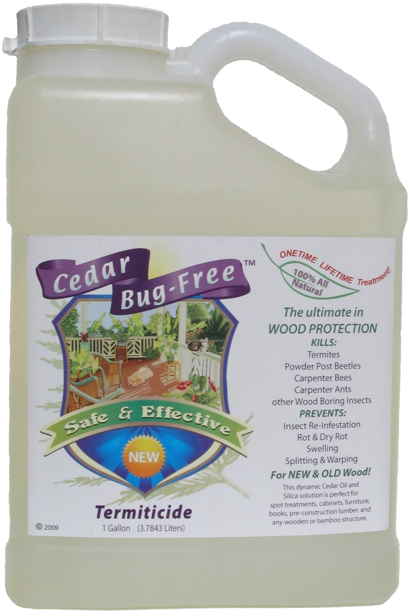 Termite Control - Cedar Bug-Free Termiticide. Natural Termite Treatment. Termite Spray - 1 gallon