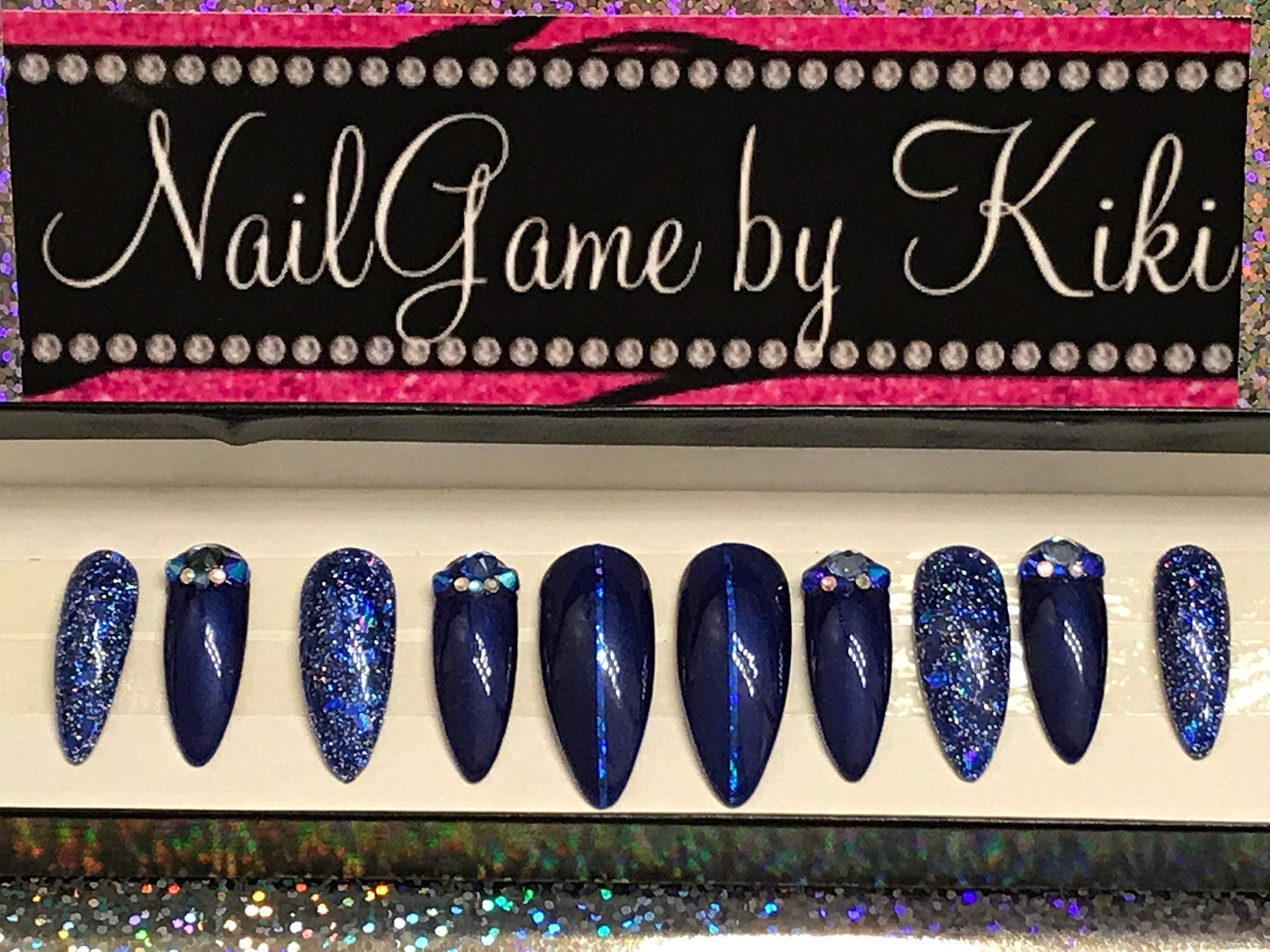 Blue and Blue Glitter Hand Designed Nails Fake Nails Blue Nails False Nails Custom Nails Designed Nails Handmade