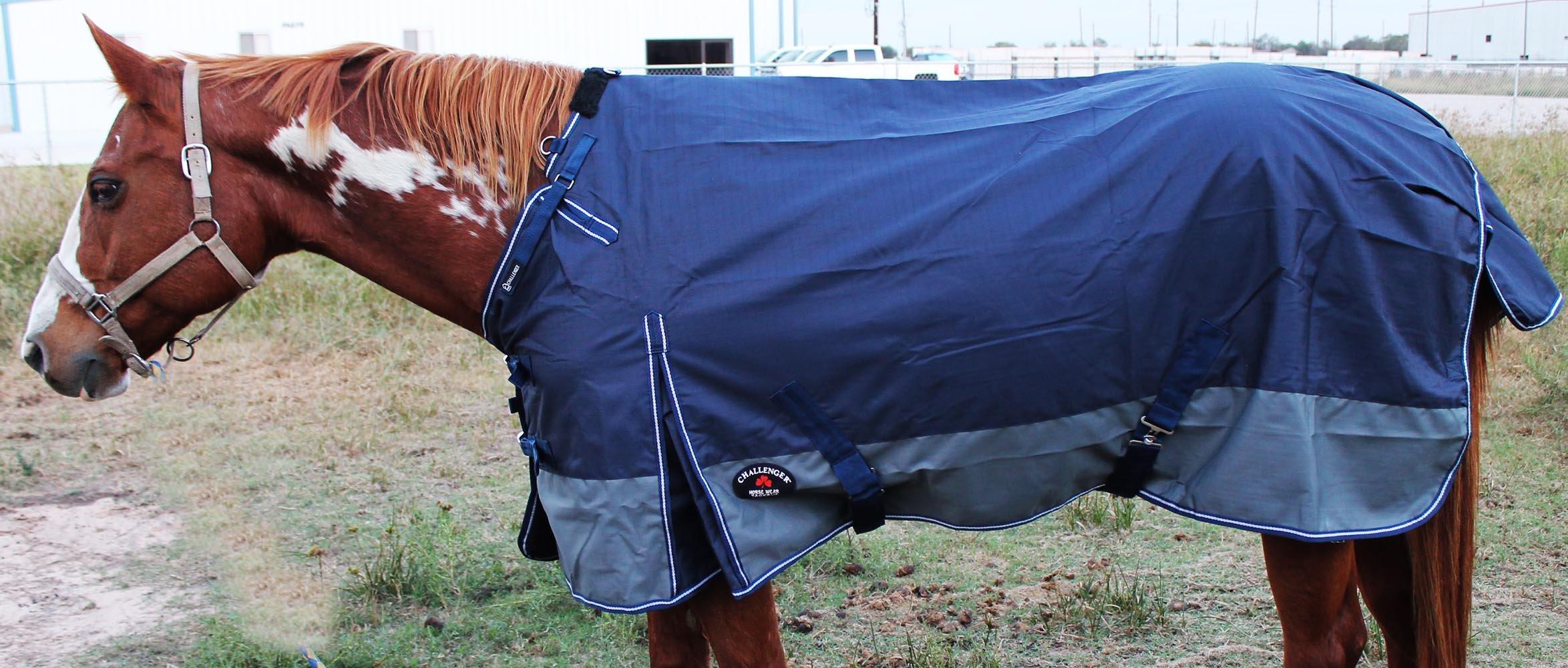 CHALLENGER 76'' 1200D Turnout Rain Horse Sheet Light Winter Blanket Gusset 366 by CHALLENGER