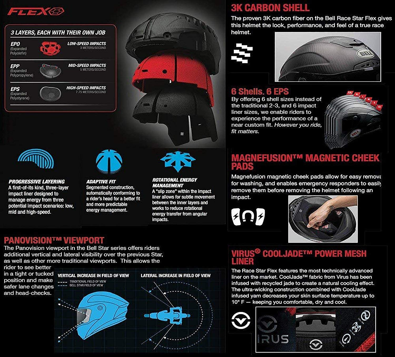 Amazon.com: Bell Race Star DLX Full-Face Motorcycle Helmet (Matte ...
