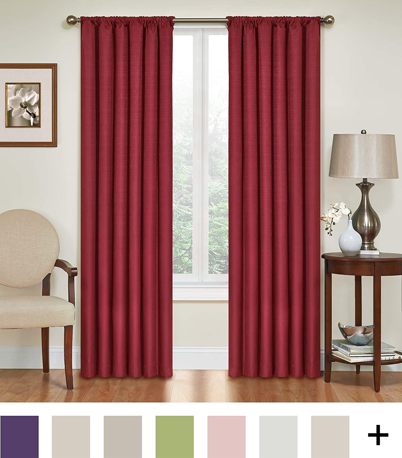 """ECLIPSE Blackout Curtains for Bedroom - Kendall Insulated Darkening Single Panel Rod Pocket Window Treatment Living Room, 42"""" x 84"""", Ruby"""