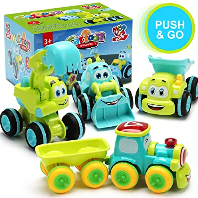 Toys for a 2 Year Old Boy - 4 Friction Powered Trucks for 2+ Year Old Boys, Push & Go Cars Cartoon Construction Vehicle Set - Best Toddler Boys Toys & Toy Trucks, Play Pull Back Car, Idea: Toys & Games