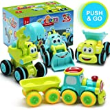 Toys for a 2 Year Old Boy - 4 Friction Powered Trucks for 2+ Year Old Boys, Push & Go Cars Cartoon Construction Vehicle Set -