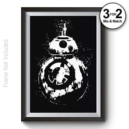 Star wars poster black white bb8 posters starwars wall art prints in giclee