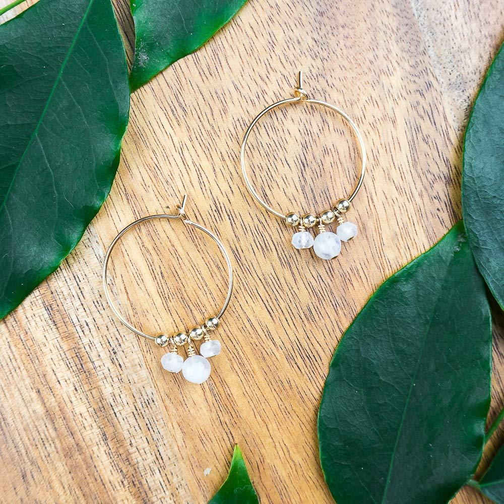 Boho moonstone hoop earrings in gold plate - June birthstone