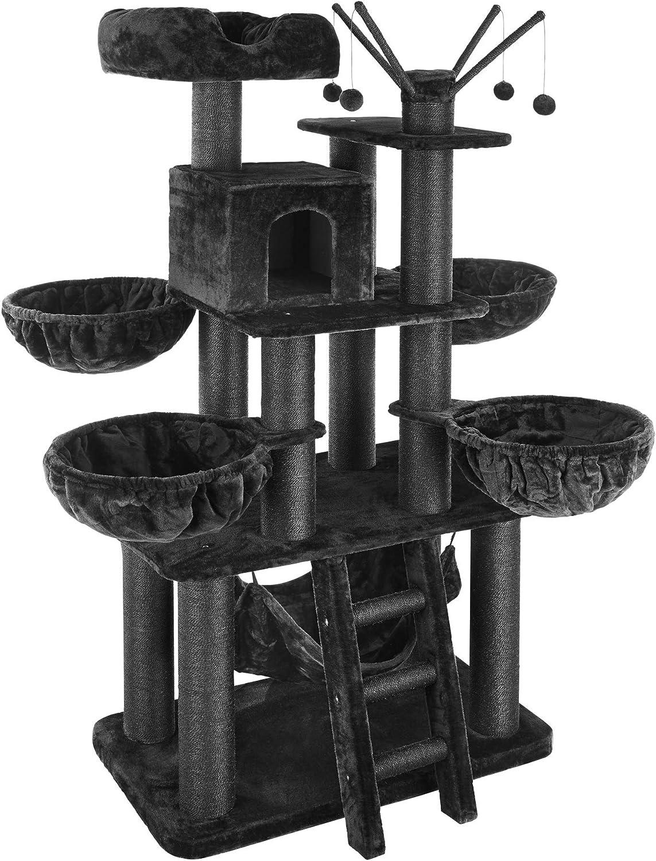 TecTake 800740 Rascador para Gatos, Árbol Rascador, Columnas de Sisal, Caseta Plataforma 4 Nidos Hamaca, 130x79x195 cm (Negro | No. 403328)