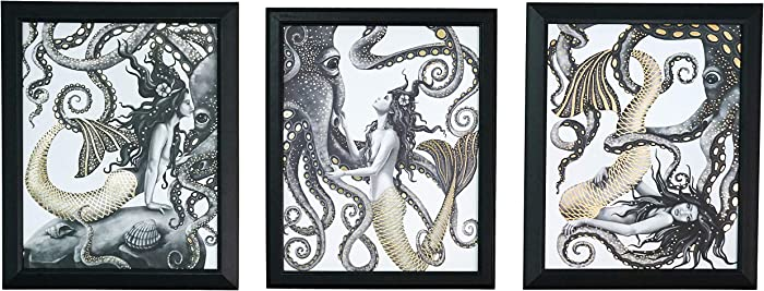 Mermaid and Octopus Wall Art Decor - 3 Piece Set - Gold Foil Home Nautical Bathroom Beach Ocean Posters Prints - 8x10 in