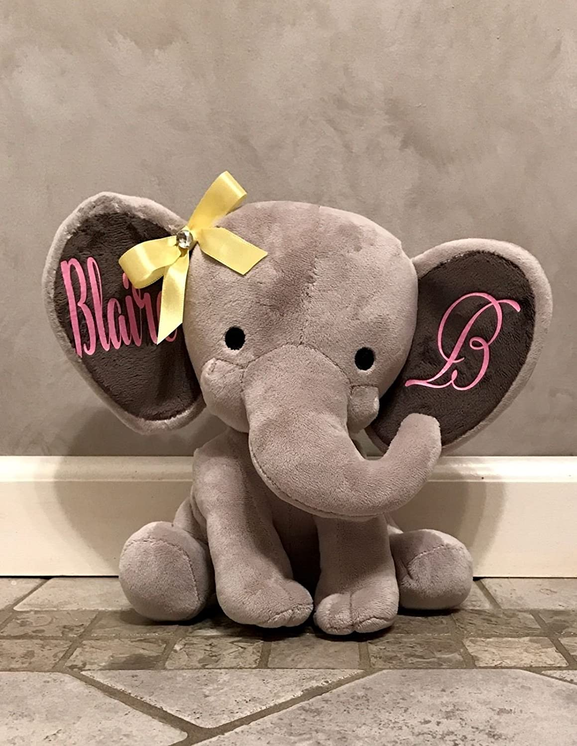 Personalized Decorative 9 Stuffed Plush Grey Elephant. Great for Baby Shower or Birthday Gift.