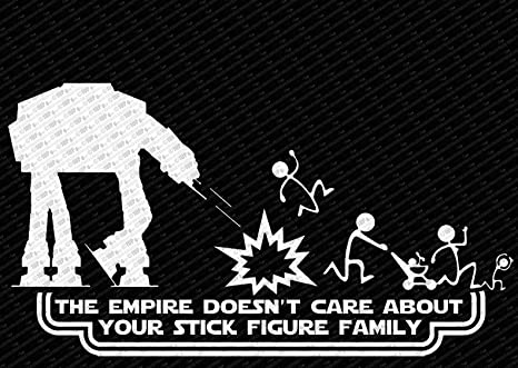 The empire doesnt care about your stick figure family star wars vinyl car decal
