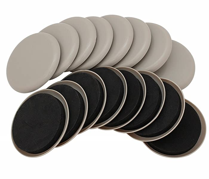 "Smart Surface 8295 3-1/2"" Round Carpet Furniture Sliders 16-Pack in Resealable Bag"