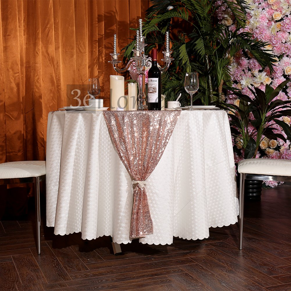 3e Home 12x108 Sequin Table Runner for Party Dinner Banquet, Rose Gold