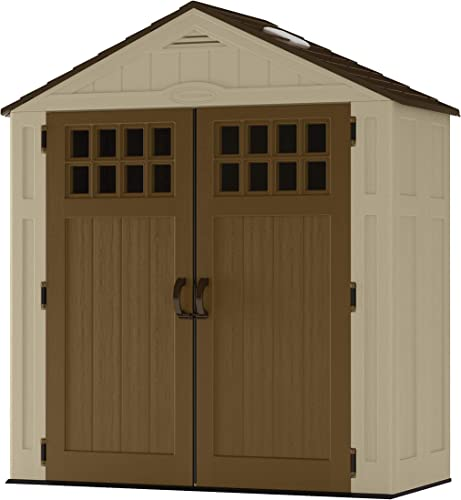 Suncast 6 x 3 Vertical Shed Outdoor Storage for Backyard Tools and Accessories All-Weather Resin Material, Transom Windows and Shingle Style Roof, Wood Grain Texture